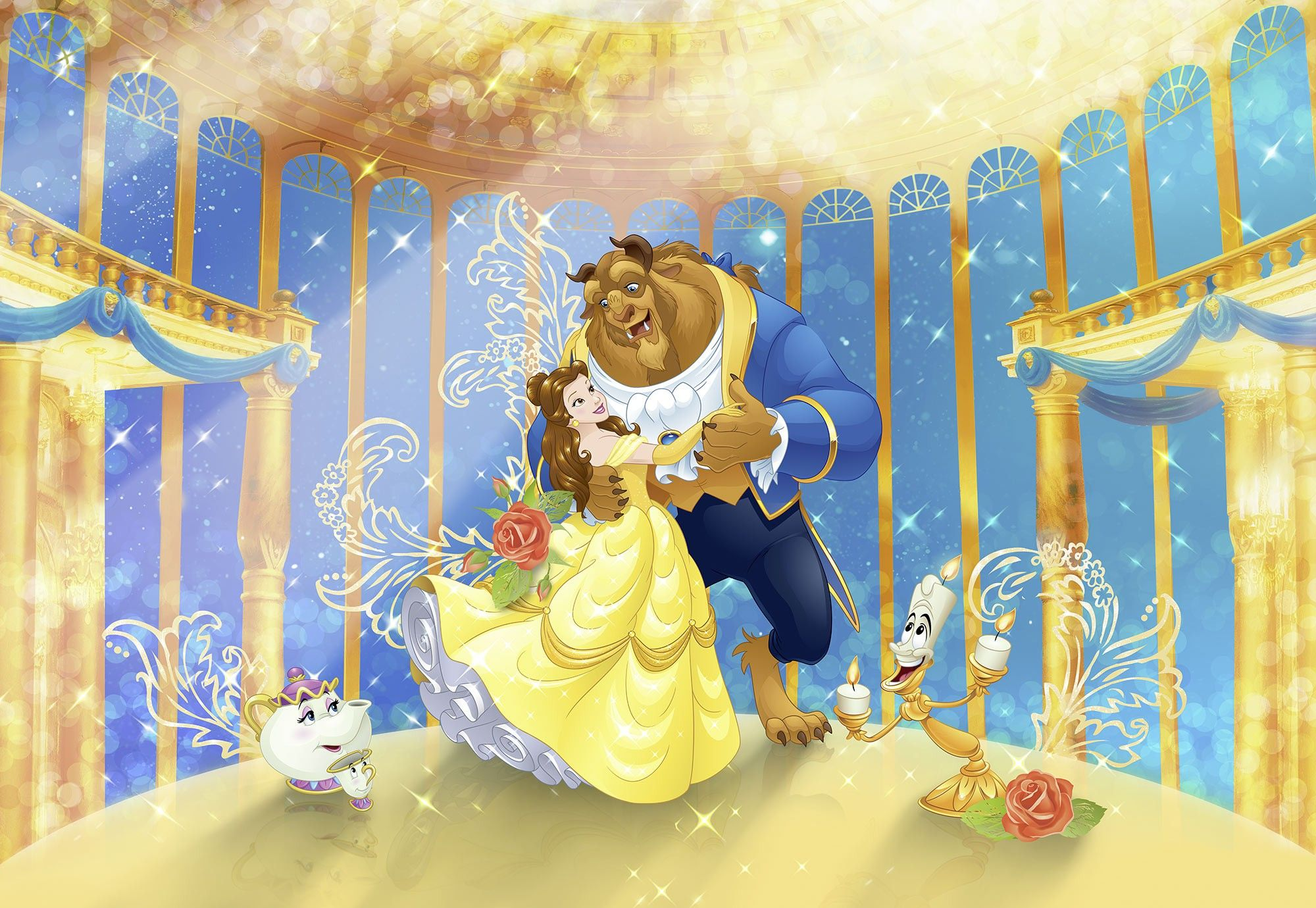 368x254cm Wall Mural Wallpaper Disney Character Beauty And The